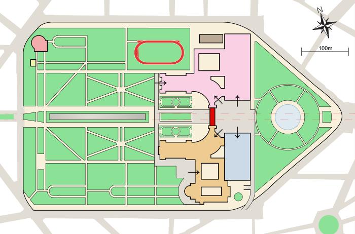 Bruxelles - Mappa del Parco del Cinquantenario e Arco di Trionfo